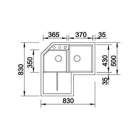 1518888 metra 9 e blanco lavello 83x83 2 vasche angolare silgranit grigio roccia