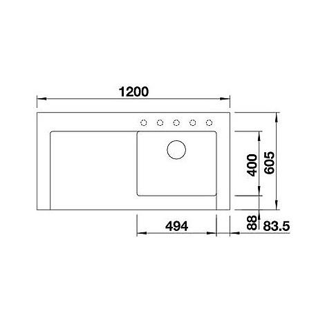 1518891 modex-m 60 grigio ro blanco lavello 120x61 1 vasca sgocciolatoio a sinistra silgranit
