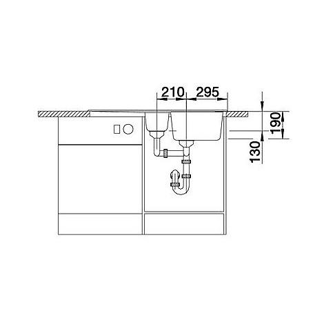 1518900 nova 6 s grigio rocc blanco lavello 100x50 2 vasche reversibile silgranit