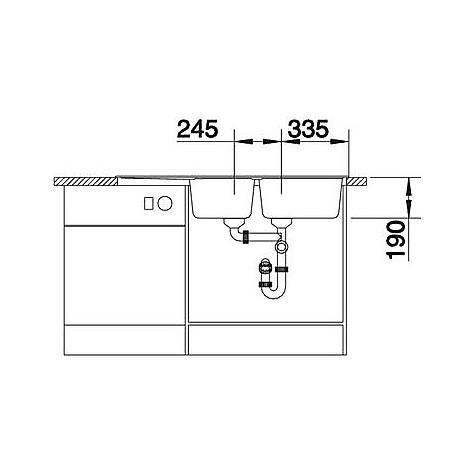 1518902 nova 8 s blanco lavello 116x50 2 vasche reversibile silgranit grigio roccia