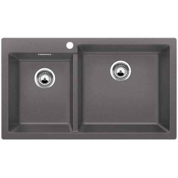 1518909 pleon 9 grigio roccia blanco lavello 86x50 2 vasche senza sgocciolatoio silgranit sopratop