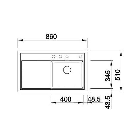 1518923 zenar 45 s grigio ro blanco lavello 120x61 1 vasca sgocciolatoio a sinistra silgranit