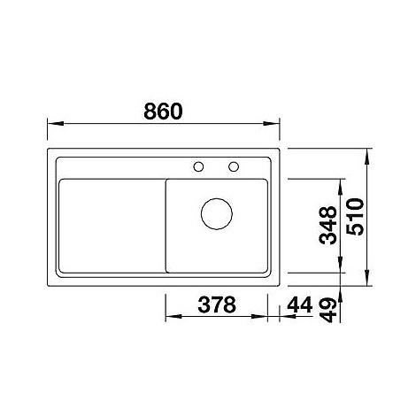 1518925 zenar 45 s grigio ro blanco lavello 120x61 1 vasca sgocciolatoio a destra silgranit sopratop