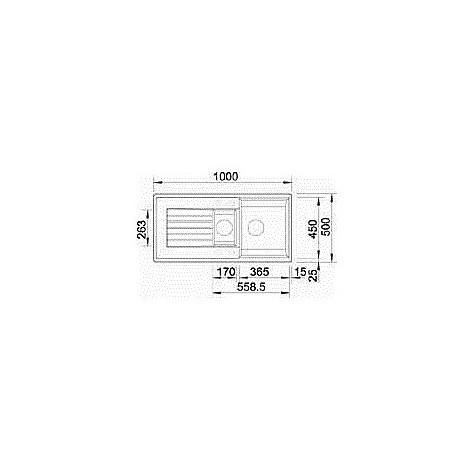 1518940 zia 6 s grigio rocc blanco lavello 100x50 2 vasche reversibile silgranit sopratop