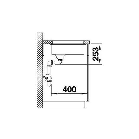 1518951 subline 160-u blanco lavello 19x46 1 vasca senza sgocciolatoio silgranit grigio rocc