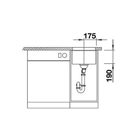 1518952 subline 320-u blanco lavello 35x46 1 vasca senza sgocciolatoio silgranit grigio rocc