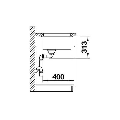 1518961 subline 400-u blanco lavello 43x46 1 vasca senza sgocciolatoio silgranit grigio rocc