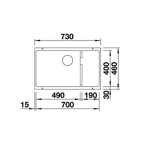 1518971 subline 700-u level blanco lavello 73x46 1 vasca senza sgocciolatoio silgranit grigio rocc