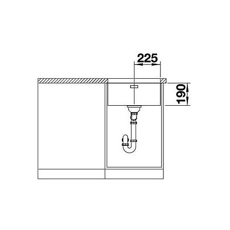 1519373 andano 450-u blanco lavello 49x44 1 vasca senza sgocciolatoio inox satinato sottotop