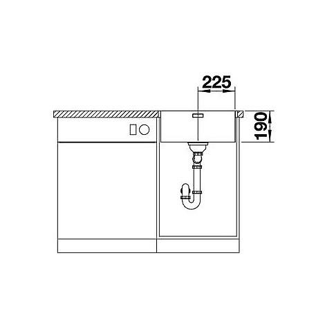 1519375 andano 450-if blanco lavello 49x44 1 vasca senza sgocciolatoio inox satinato