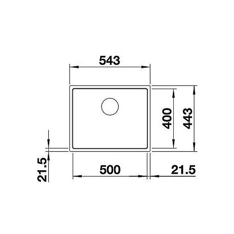 1519429 subline 500-if steelf blanco lavello 54x44 1 vasca senza sgocciolatoio silgranit antracite
