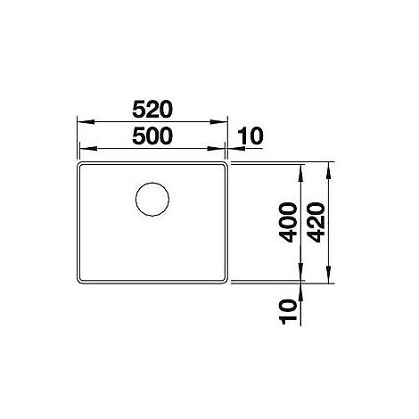 1519447 attika xl 60 blanco lavello 52x42 1 vasca senza sgocciolatoio inox satinato