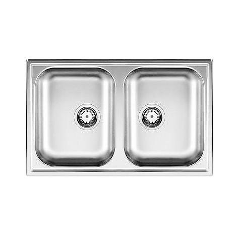 1612310 livit 8 blanco lavello 86x50 2 vasche senza sgocciolatoio inox