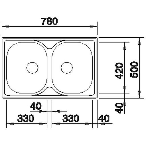 1612311 livit 8 compact blanco lavello 78x50 2 vasche senza sgocciolatoio inox