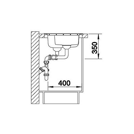 1612648 median 6 s blanco lavello 100x50 2 vasche sgocciolatoio a sinistra inox sopratop