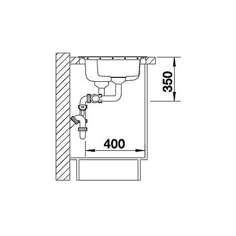 1612649 median 6 s blanco lavello 100x50 2 vasche sgocciolatoio a destra inox sopratop