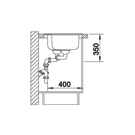 1612659 median 9 blanco lavello 86x50 2 vasche senza sgocciolatoio inox sopratop