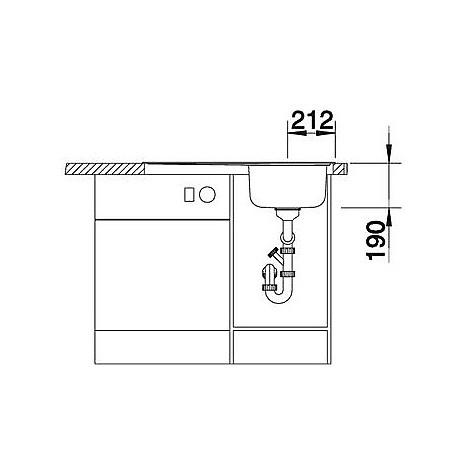 1612662 median 45 s blanco lavello 86x50 1 vasca sgocciolatoio a sinistra inox sopratop