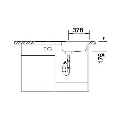 1612737 median xl 6 s blanco lavello 100x50 1 vasca sgocciolatoio a sinistra inox sopratop