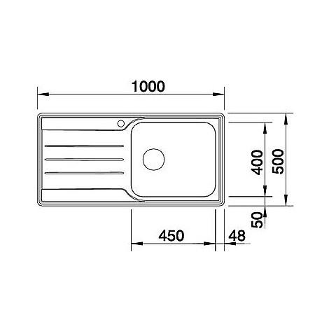 1612738 median xl 6 s blanco lavello 100x50 1 vasca sgocciolatoio a destra inox sopratop