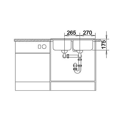 1614641 classic 8-if blanco lavello 77x50 2 vasche senza sgocciolatoio inox