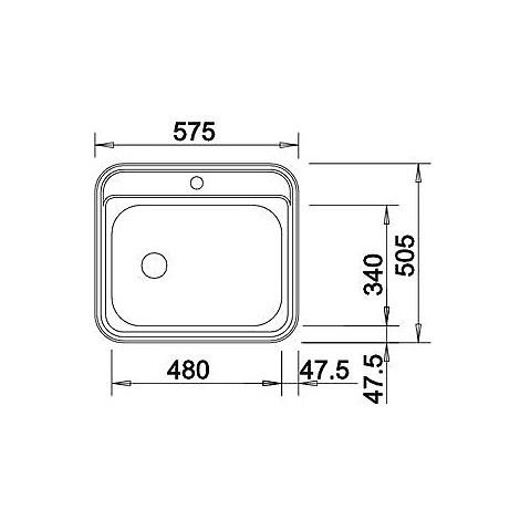 1614646 dana-if blanco lavello 58x51 1 vasca senza sgocciolatoio inox