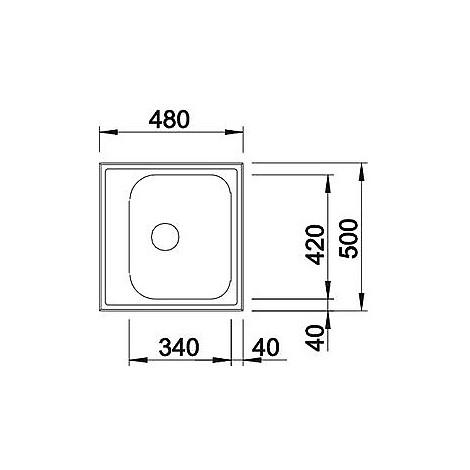 1614785 livit 45 blanco lavello 48x50 1 vasca senza sgocciolatoio inox