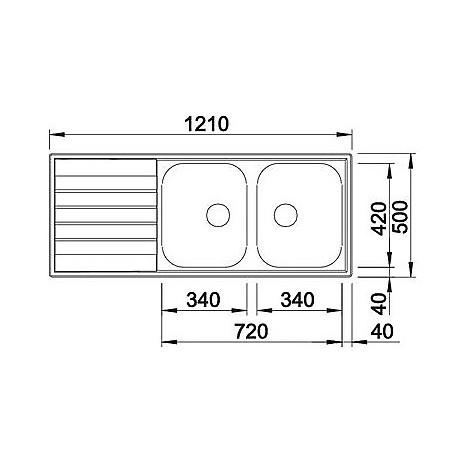 1614798 livit 8 s blanco lavello 121x50 2 vasche sgocciolatoio a sinistra inox