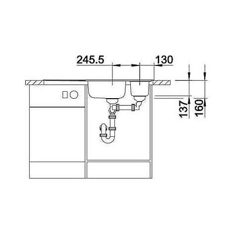 1616191 livit 6 s centric blanco lavello 100x50 2 vasche sgocciolatoio a sinistra inox