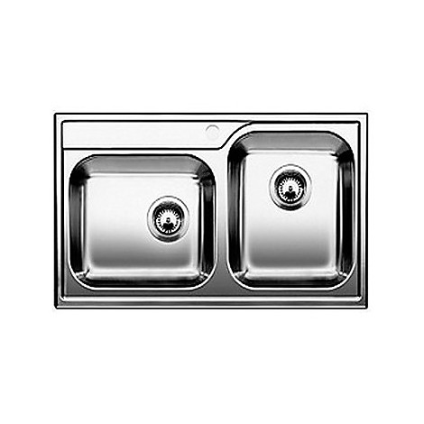 1618457 median 9-if blanco lavello 86x50 2 vasche senza sgocciolatoio inox