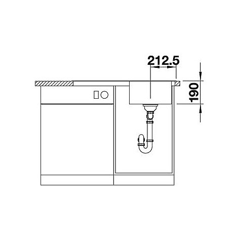 1618485 median 45 s-if blanco lavello 86x50 1 vasca sgocciolatoio a sinistra inox