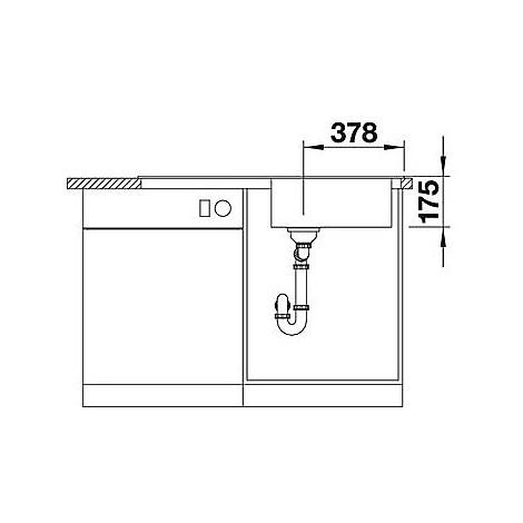 1618490 median xl 6 s-if blanco lavello 100x50 1 vasca sgocciolatoio a destra inox