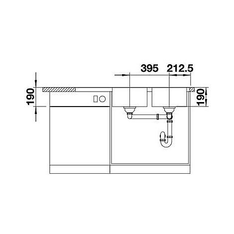 1618491 median 8 s-if blanco lavello 116x50 2 vasche sgocciolatoio a sinistra inox