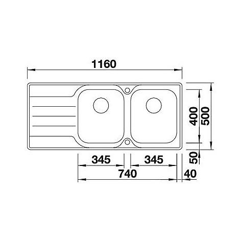 1618492 median 8 s-if blanco lavello 116x50 2 vasche sgocciolatoio a destra inox