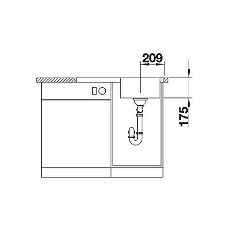 1618766 classic 4 s-if blanco lavello 77x50 1 vasca sgocciolatoio a sinistra inox