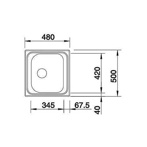 1619425 tipo 45 blanco lavello 48x50 1 vasca senza sgocciolatoio inox sopratop