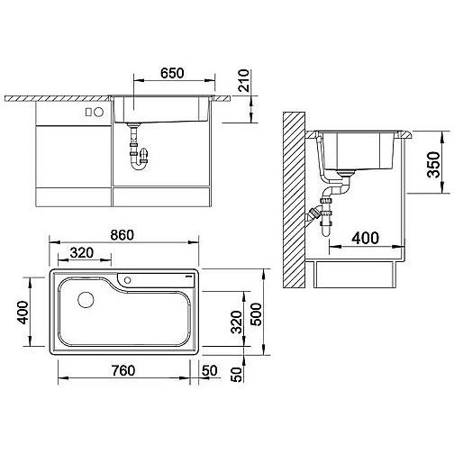 1619560 plenta access inclusi blanco lavello 86x50 1 vasca senza sgocciolatoio inox