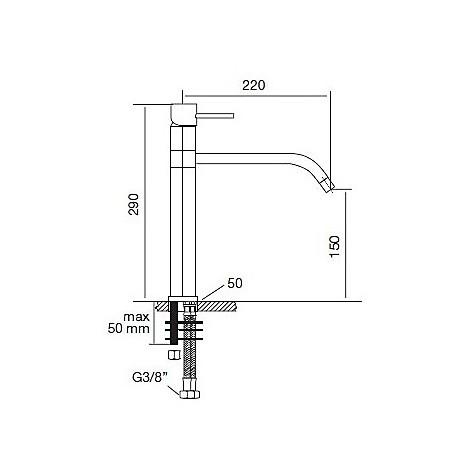 9100 cm 9100miscinox miscelatore inox satinato acciaio aisi304 canna girevole