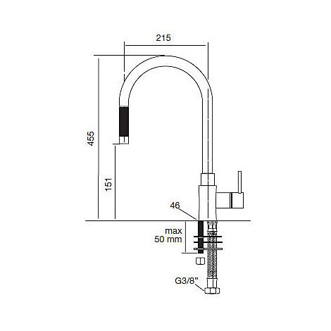 9102 cm 9102miscsat miscelatore satinato canna girevole e doccia estraibile
