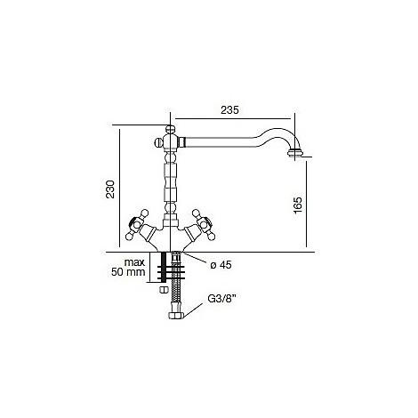 9212 cm 9212misccrm miscelatore cromato canna girevole stile antico