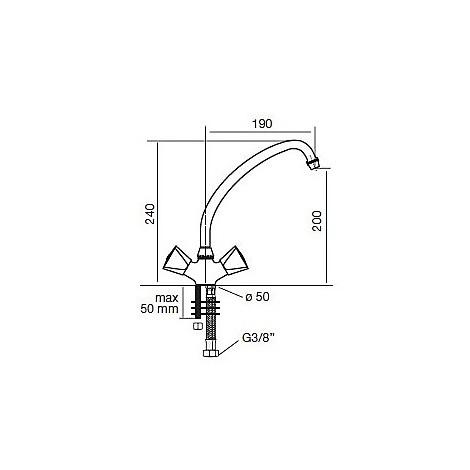 9215 cm 9215misccrm miscelatore cromato canna girevole maniglie in abs