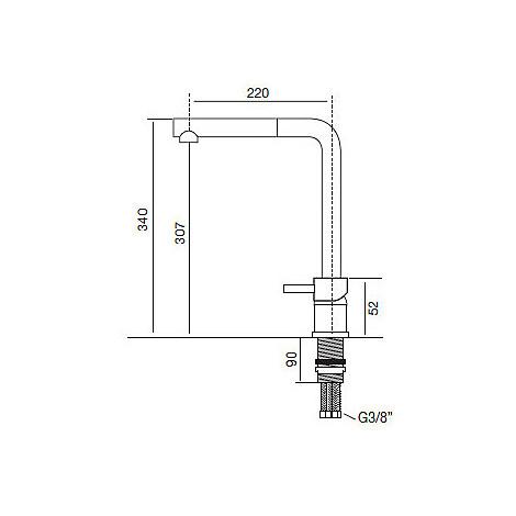 9234 cm 9234miscnik miscelatore nikel spazzolato sottofinestra con doccia estraibile abs
