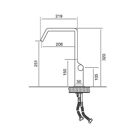 9237 cm 9237miscinox miscelatore inox acciaio aisi304 canna gir.  e leva nera