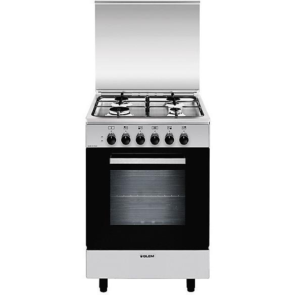a-554mi6 glem gas cucina 4 fuochi a gas forno elettrico classe a inox