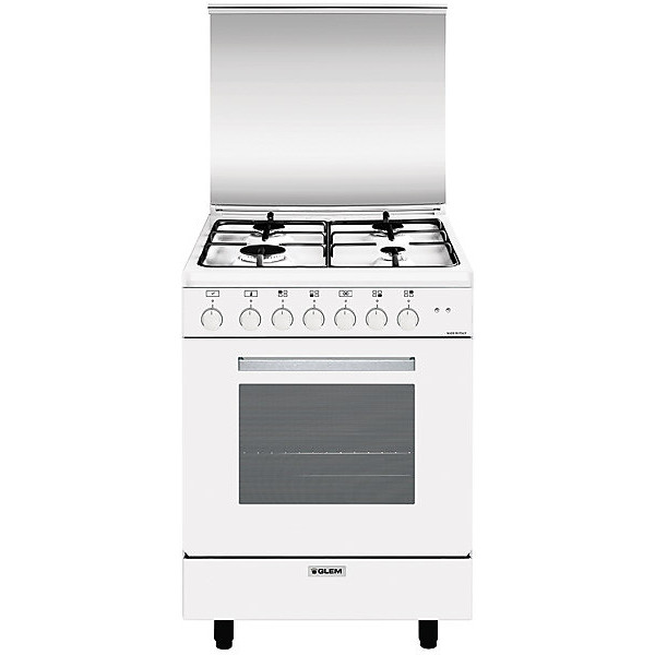 a-664mx6 glem gas cucina 60x60 4 fuochi a gas forno elettrico classe a bianca