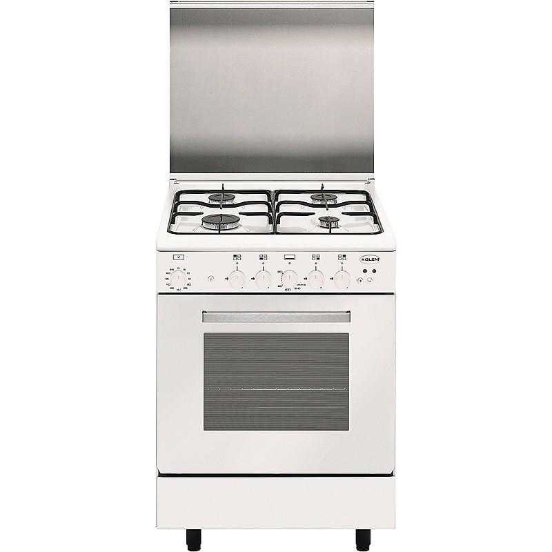 a66bxf3 glem gas cucina 60x60 4 fuochi a gas forno a gas ventilato bianco