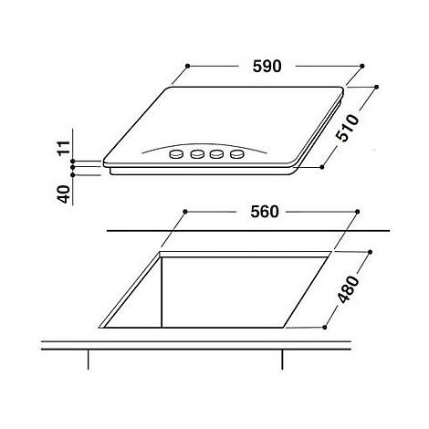 aks-212/ix ignis piano cottura 60cm inox 4 fuochi gas