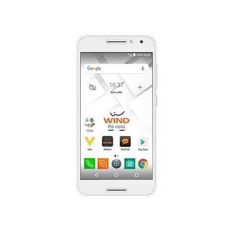 "Alcatel Wind smart plus Smartphone 5"" HD memoria 16 GB Fotocamera 13 MP Android colore Bianco"