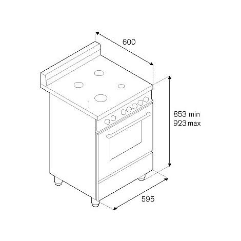 am-64051dxt la germania cucina 60 cm 4 fuochi 1 forno elettrico inox