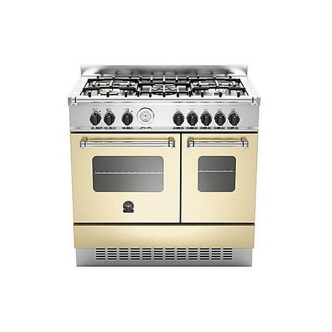 amd-5c61acr la germania cucina 90 cm 5 fuochi 2 forni elettrici crema